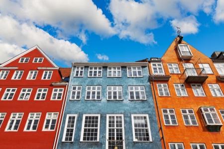 Oude klassieke architectuur van Nyhavn in Kopenhagen, Denemarken
