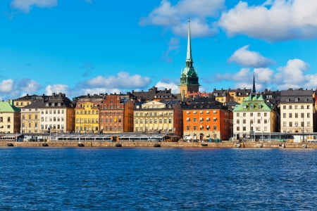 Beautiful summer scenery of the Old Town  Gamla Stan  pier  and skyline in Stockholm, Sweden photo