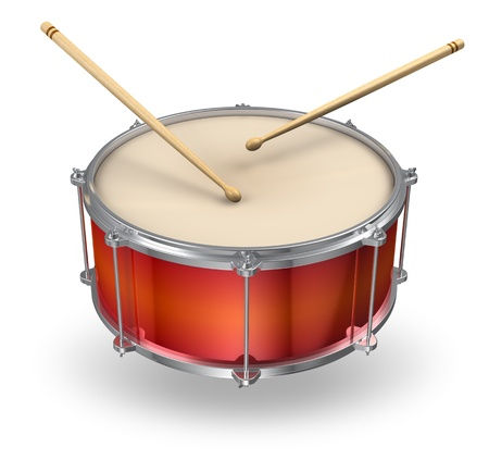 drum: Red drum with pair of drumsticks isolated on white background