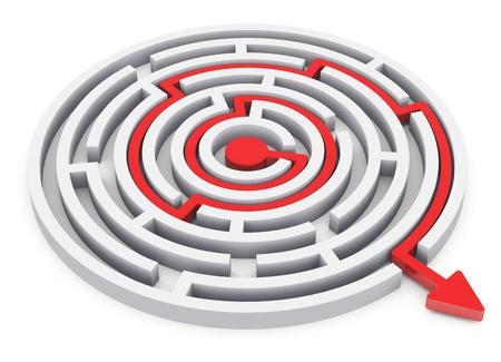 laberinto: Resuelto laberinto círculo redondo con la ruta de color rojo con la flecha aisladas sobre fondo blanco