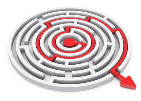 Solved round circle labyrinth with red path with arrow isolated on white background photo