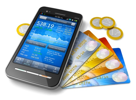 mobile banking: Mobile banking and finance concept - smartphone with stock exchange market application, group of color credit cards and golden Euro coins isolated on white background  Design is my own and all text labels and numbers are fully abstract Stock Photo