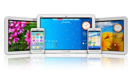 Set of tablet computers and smartphones with colorful interfaces isolated on white background with reflection effect  Design and all used photos is my own and all text labels and numbers are fully abstract photo