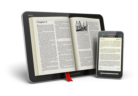 publish: Mobile reading and literature library concept: book with text in tablet computer and touchscreen smartphone isolated on white. Design of tablet PC and smartphone and used photo are MY OWN and text is fully abstract and generated by random text generator.