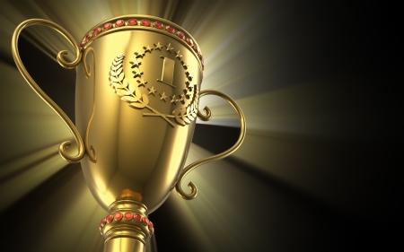 kroes: Bekroonde en kampioenschap concept: gouden gloeiende trofee cup op zwarte achtergrond Stockfoto