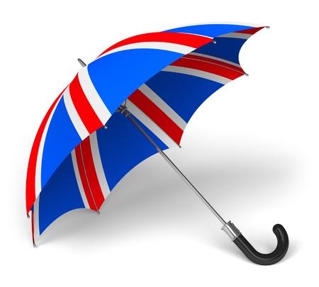bandera inglesa: Paraguas con la bandera británica sobre fondo blanco