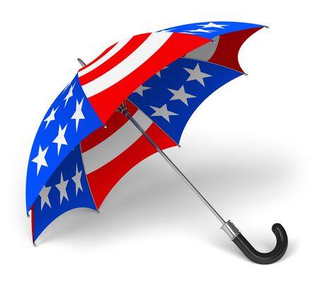 Красочные зонтик с американским флагом национальной изолированных на белом фоне