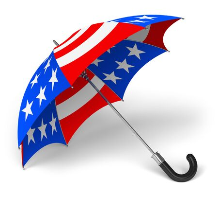 Colorful umbrella with US national flag isolated on white background photo