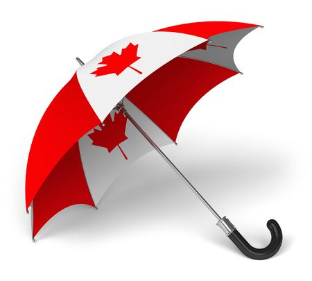 canadian icon: Umbrella with Canadian national flag isolated on white background Stock Photo