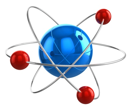 Abstract 3D atom model isolated on white background photo