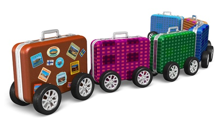 Travel around the world and tourism concept  train from color travel cases with label tags and car wheels isolated on white background  photo