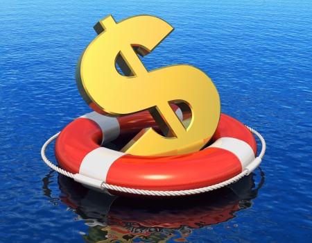 business survival: Financial crisis concept  golden dollar symbol in lifesaver belt floating on blue water surface with reflection effect