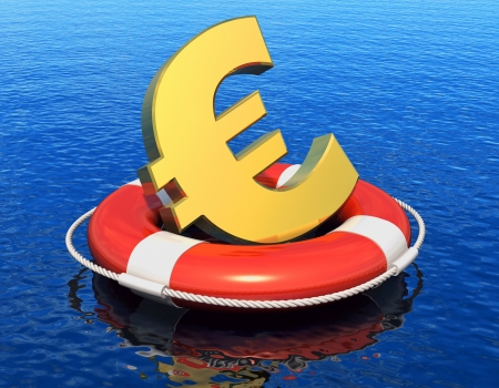 Financial crisis in Europe concept  golden Euro symbol in lifesaver belt floating on blue water surface with reflection effect photo