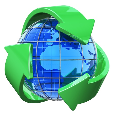 Recycling and environment protection concept: blue Earth globe covered by green recycling symbol isolated on white background photo