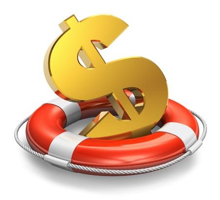 signos de pesos: S�mbolo Financiero concepto crisis d�lar en oro salvavidas cinta aisladas sobre fondo blanco Foto de archivo