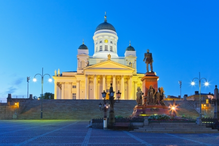 Famous landmark in Finnish capital  Senate Square with Lutheran cathedral and monument to Russian emperor Alexander II photo