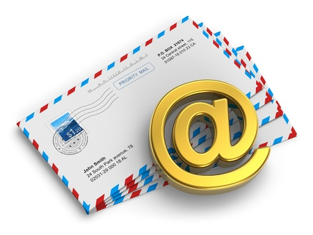 E-mail and internet messaging concept  group of post mail envelopes and golden @ symbol isolated on white background  All names are fully fictional and photo used here is my own from my own portfolio photo