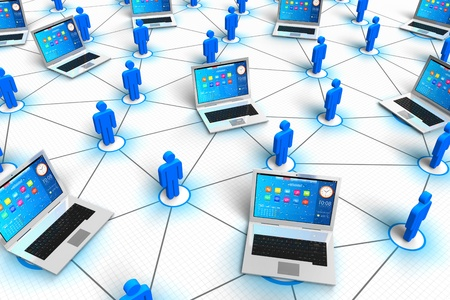 Social network and mobile media concept  group of color human figures and laptops connected to each other on white background  Design is my own and all text labels are fully abstract photo