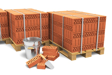 Building and construction industry concept  group of wooden shipping pallets full of red bricks and construction tools isolated on white background photo