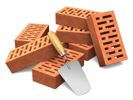 brick work: Building and construction industry concept  group of red bricks and metal trowel isolated on white background