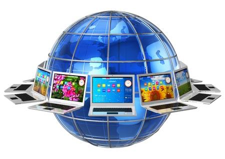telecomm: Comunicaci�n global y el c�rculo conectividad concepto de computadoras port�tiles alrededor de la tierra brillante globo azul aislado en el fondo blanco y el dise�o de todas las im�genes utilizadas son de mi autor�a, y todas las etiquetas de texto son totalmente abstracto