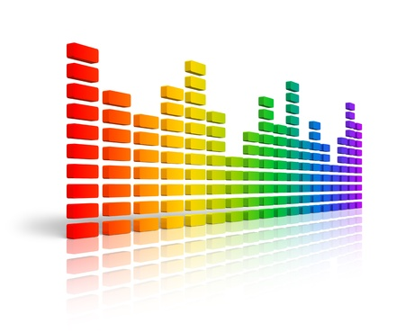 recordings: Rainbow graphic equalizer or spectrum analyzer isolated on white background with reflection effect