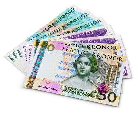 Pila di 100, 50 e 20 banconote in corone svedesi isolato su sfondo bianco Archivio Fotografico - 14915606