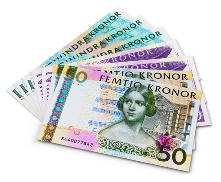 Stack of 100, 50 and 20 swedish krona banknotes isolated on white background Stock Photo - 14915606