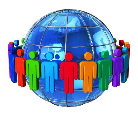 la société: Réseau social, la communication et le groupe notion médiatique de figures en couleur de l'homme autour du globe terrestre bleu brillant isolé sur fond blanc