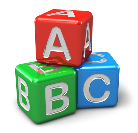 building blocks: Back to school and education concept  ABC color glossy cubes with letters isolated on white background