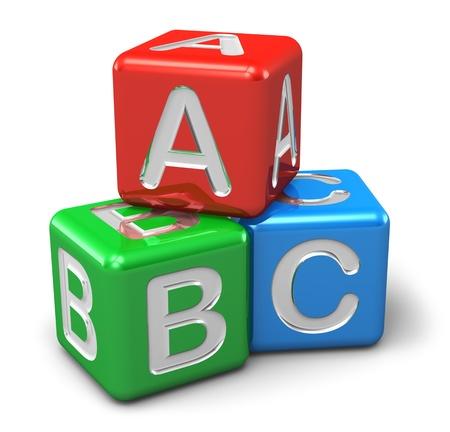 bloques: Volver a la escuela y la educaci�n concepto cubos de colores brillantes con las letras ABC aisladas sobre fondo blanco Foto de archivo
