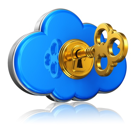 Cloud computing and storage security concept  blue glossy cloud icon with with golden key in keyhole isolated on white background with reflection effect photo