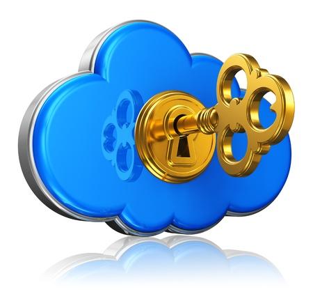 Cloud Computing und Storage-Security-Konzept blue glossy cloud Symbol mit mit goldenen Schlüssel in Schlüsselloch auf weißem Hintergrund mit Reflexion Wirkung isoliert Standard-Bild - 14916002