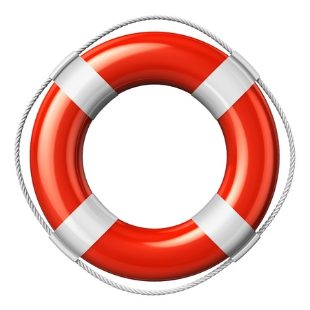 Red lifesaver belt isolated on white background photo