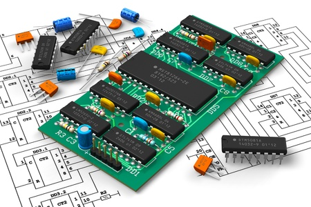 Electronics industry concept  digital circuit board with microchips over schematic diagram isolated on white background  ATTN  DESIGN of PCB AND ALL COMPONENTS IS MY OWN AND ALL TEXT LABELS AND NUMBERS ARE FULLY ABSTRACT photo