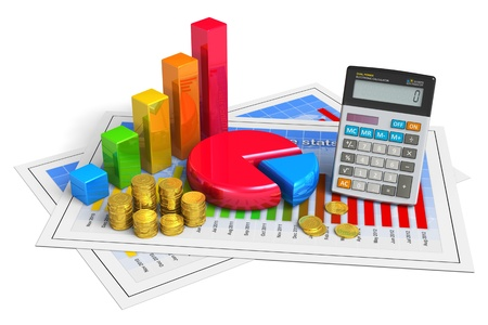 rates: Financial business, analytics, banking and accounting concept  pie chart, bar graph, golden coins and office calculator on successful economical reports isolated on white background