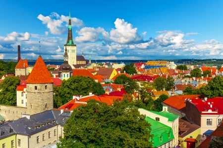 Scenic summer aerial panorama of Tallinn, Estonia photo