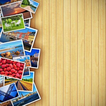 photo montage: Creative photo gallery concept - collection of colorful photos on background made from wooden planks  All photos used here are my own from my own portfolio