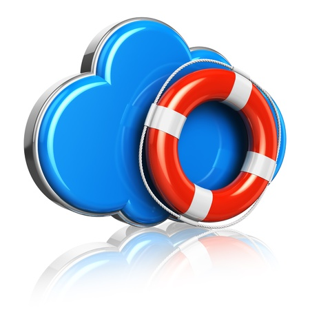 remote server: Cloud computing and storage security concept: blue glossy cloud icon with red lifesaver belt isolated on white background with reflection effect