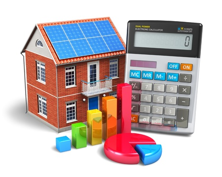 Home finance concept - residential house, office calculator, colorful bar graph and color pie chart isolated on white background  Design of calculator is my own and all text labels are fully abstract  Stock Photo