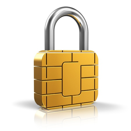 mobile security: SIM card or credit card security concept  golden padlock from card microchip isolated on white background with reflection effect