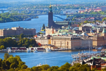 sweden: Scenic summer aerial panorama of the Old Town  Gamla Stan  in Stockholm, Sweden Stock Photo