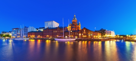 Scenic summer night panorama of the Old Town in Helsinki, Finland Stock Photo