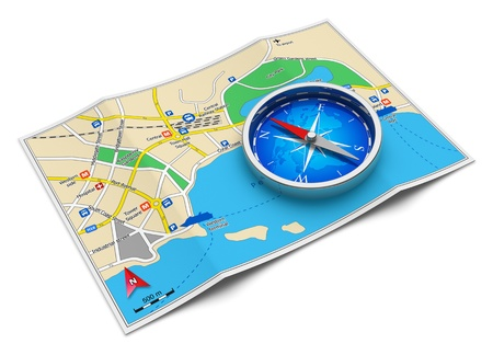 navigation map: GPS navigation, tourism and travel route planning concept - color city map and blue magnetic compass icon isolated on white background Design of map is my own and all names are fully abstract