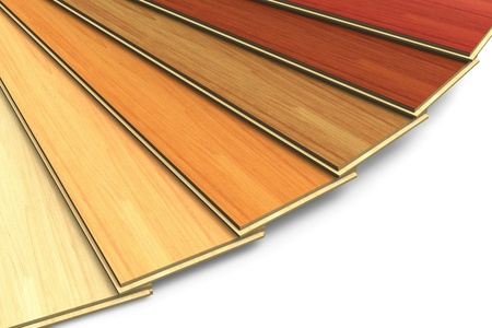 Set of wooden laminated construction planks isolated on white background photo