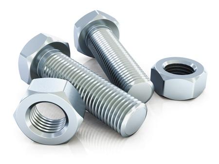 tornillos: pernos y tuercas de metal brillante aisladas sobre fondo blanco con efecto de reflexión