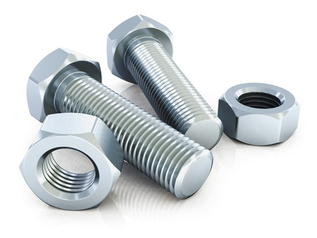 nut bolt: shiny metal bolts and nuts isolated on white background with reflection effect