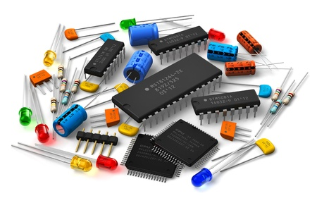 Group of vaus electronic components Stock Photo - 15549137