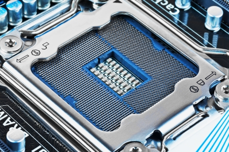 Macro view of CPU socket on PC computer motherboard photo