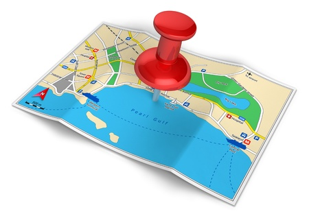 route map: GPS navigation, tourism and travel route planning concept